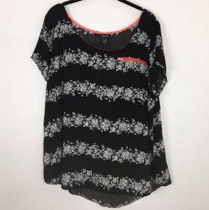 Torrid Black Floral Short Sleeve Flowy Blouse * 2